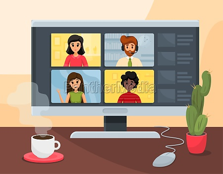 video conference business communication freelance concept