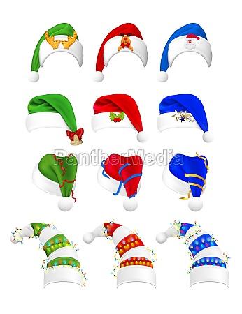 realistic christmas hats set collection