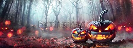 halloween with protective mask pumpkins
