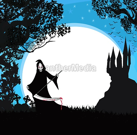 halloween grim reaper frame with space