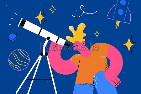 exploring cosmos in childhood concept