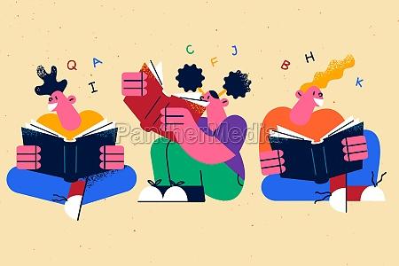 reading books education creative ideas concept