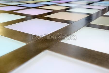 close up of illuminated multicoloured tiled