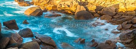 waves rocks on the coastline