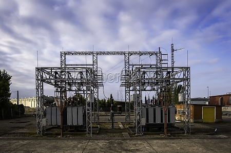 power station on cloudy day