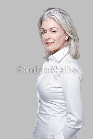 portrait attractive vivacious mature caucasian woman