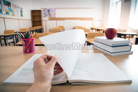 pencils and books in the classroom