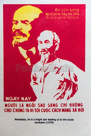 communist propaganda poster with ho chi