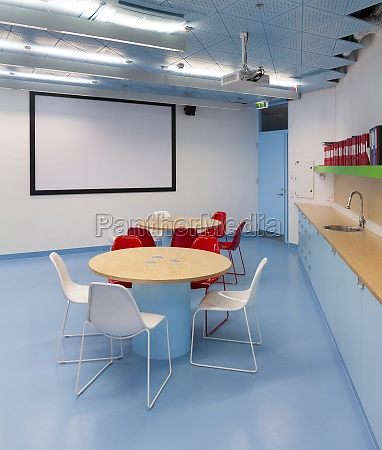 classroom with white board round tables