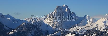 gummfluh in winter mountain near gstaad
