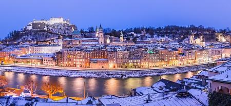 salzburg winter panorama at christmas time