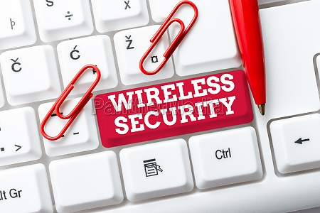 hand writing sign wireless security business