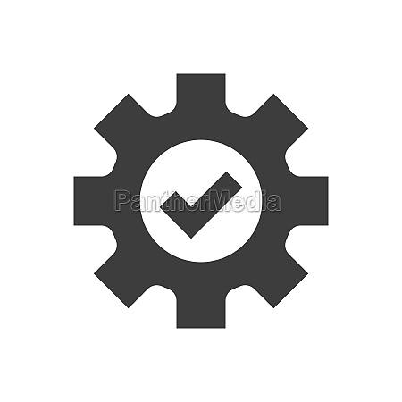 cogwheel and checkmark black vector icon