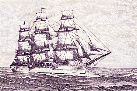 sailing ship from old argentinian money