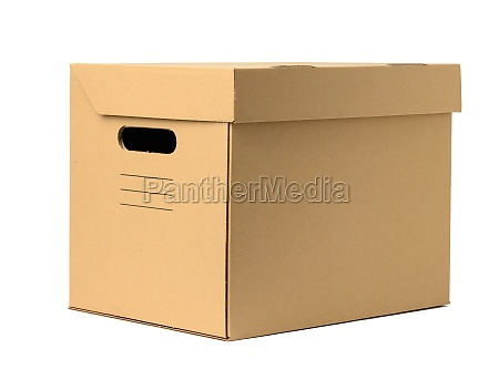 brown corrugated paper box with lid