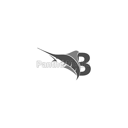 letter b with ocean fish icon