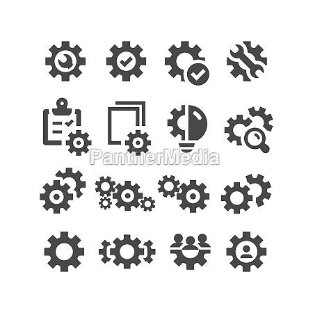 gears cogwheel black vector icon set