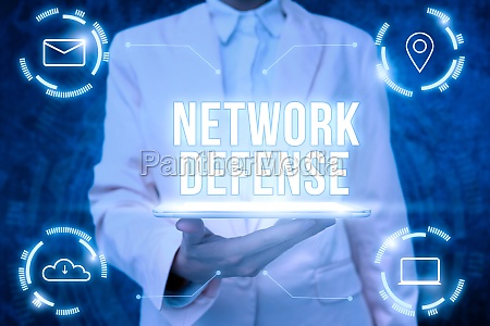 text caption presenting network defense word