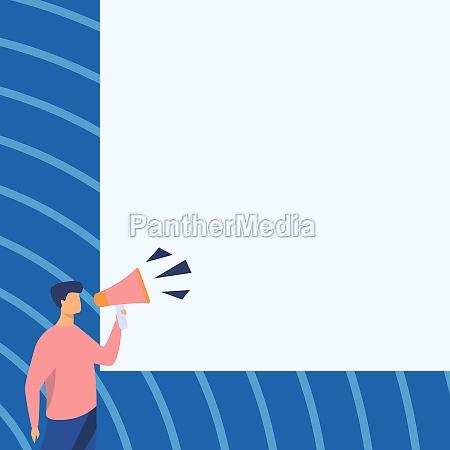 businessman drawing talking through megaphone making