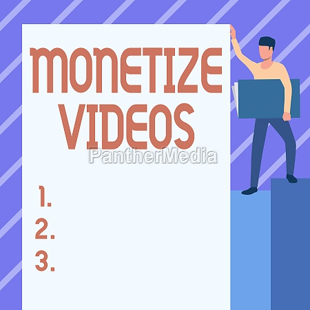 writing displaying text monetize videos business