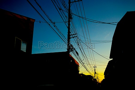 silhouette of gradient sky and electric