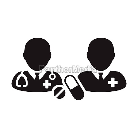 doctor icon with patient vector with