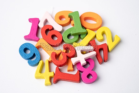 math number colorful on white background