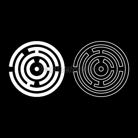 round labyrinth circle maze icon white