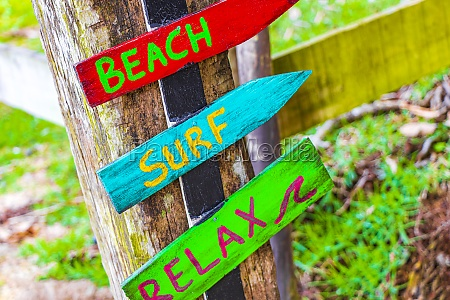sand beach surf relax colorful directional