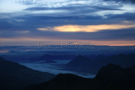 colorful morning sky and mountains seen