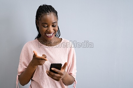 happy text message on mobile phone
