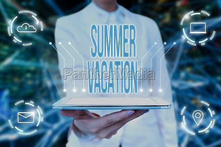 conceptual display summer vacation word for