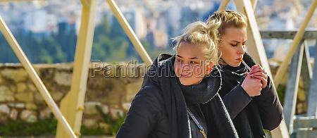 tourist at acropolis site athens greece