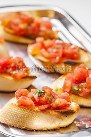 still life of tomato bruschetes