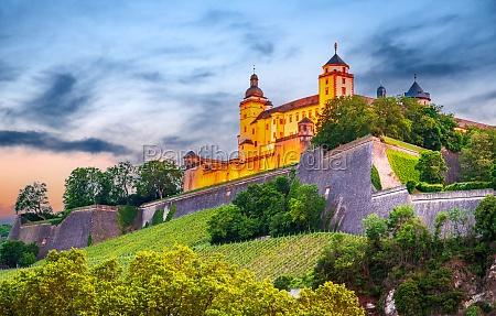 wurzburg germany marienberg fortress on sunset