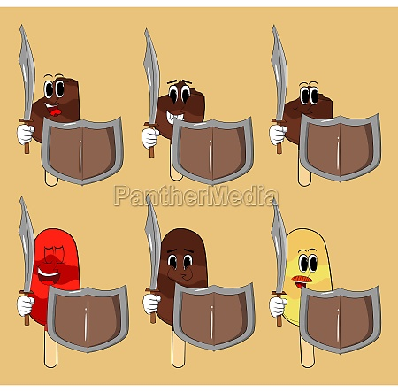 ice cream holding a sword and