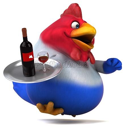 fun chicken 3d illustration