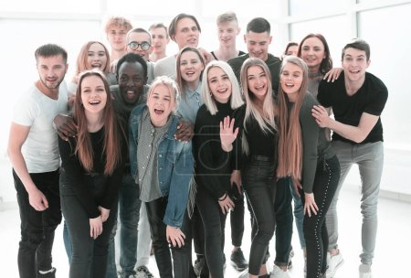 group, white, background, happy, person, studio - B321293200