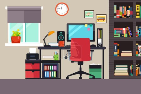 table vector computer illustration space business