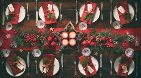 table, lights, red, background, set, glass - B317479402