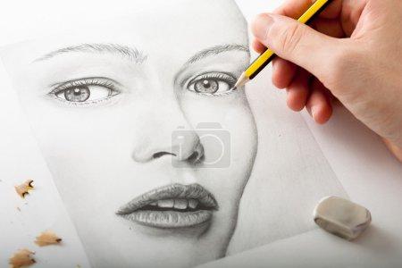 yellow white horizontal art portrait shavings