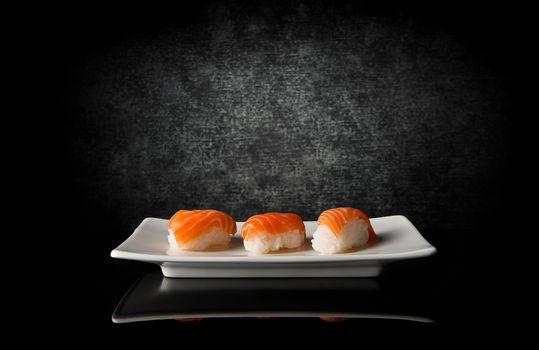 sushi, salmon, fish, rice, plate, black - D21271830