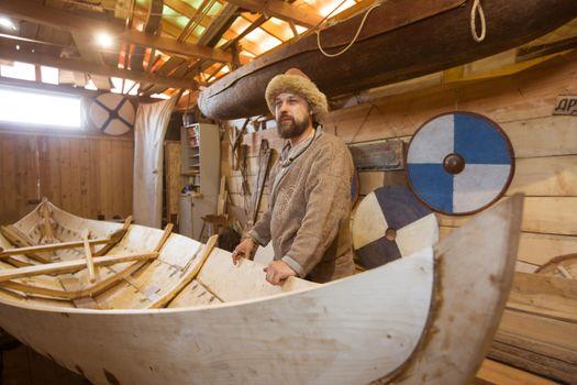 boat handmade reenactor vessel warrior wood
