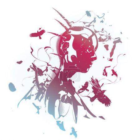 color illustration beautiful decorative girl female