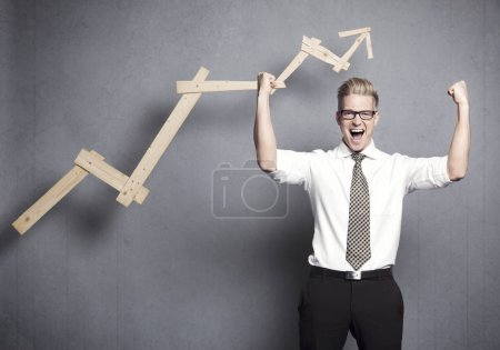 isolated happy business market person one