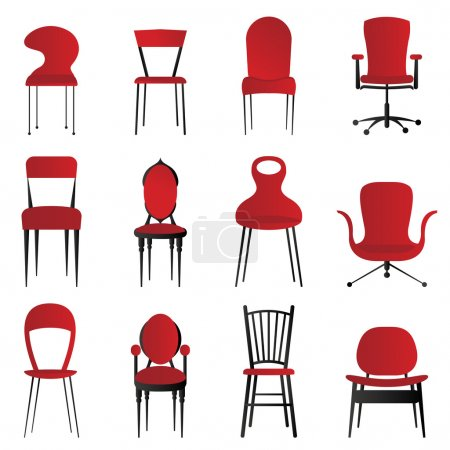 red, group, chairs, vector, background, object - B7514202